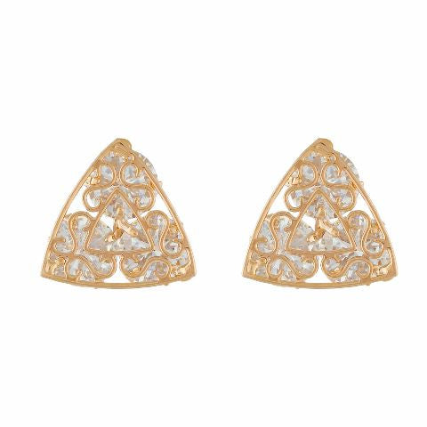 Gold colour Triangle shape Stone Studded Earring