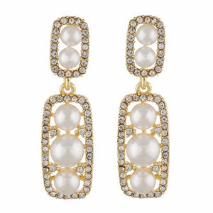 Gold / Pearl colour Rectangular shape Pearl Earring