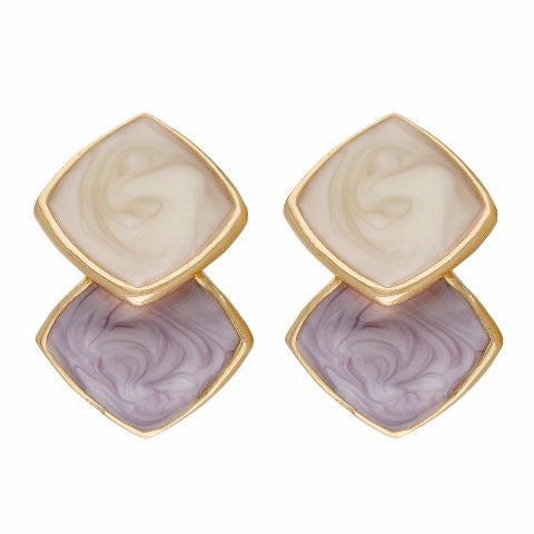 Purple, cream and gold colour Rhombus shape Enamel Earring