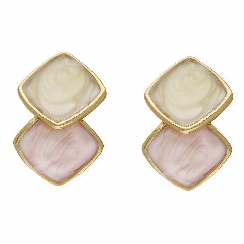 Pink, cream and gold colour Rhombus shape Enamel Earring