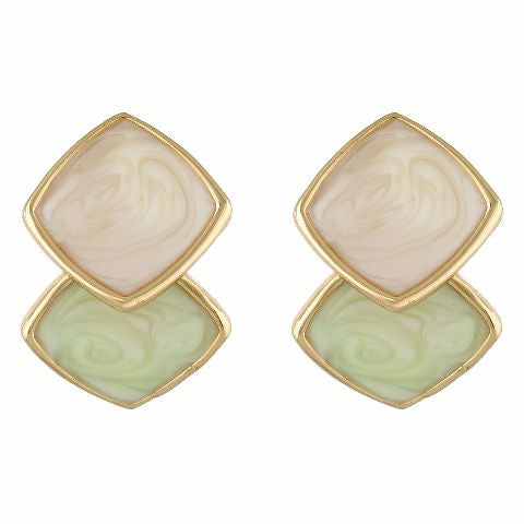 Green, cream and gold colour Rhombus shape Enamel Earring