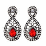 Load image into Gallery viewer, Red and Oxide Silver colour Drop shaped shape Stone Studded Earring