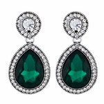 Load image into Gallery viewer, Green and Oxide Silver colour Drop shaped shape Stone Studded Earring