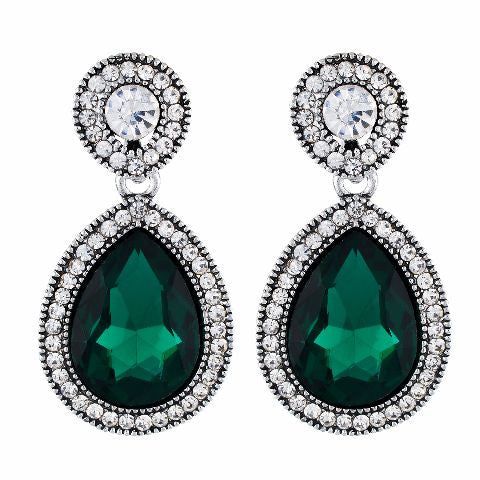Green and Oxide Silver colour Drop shaped shape Stone Studded Earring