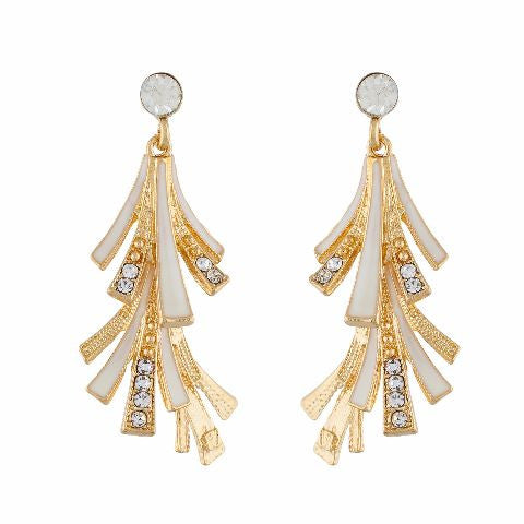White and Gold colour Formless shape Enamel Earring