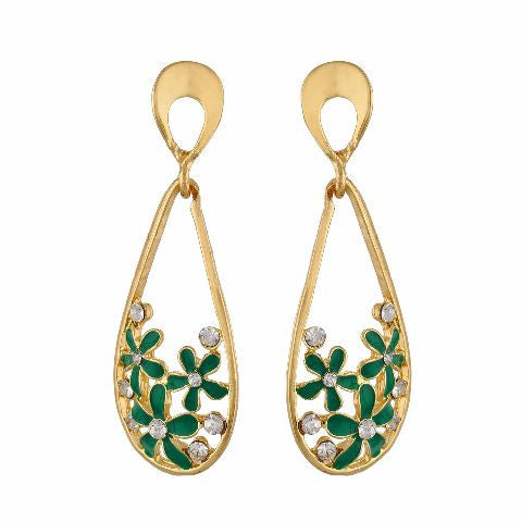 Green and Gold colour Flower and drop shape Enamel Earring