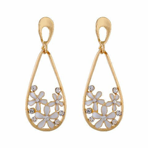 White and Gold colour Flower and drop shape Enamel Earring