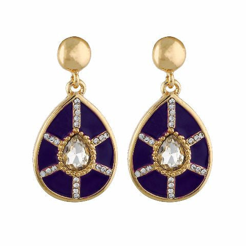 Purple and Gold colour Drop shape Enamel Earring