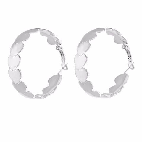 Silver colour Round shape Smarty Crafted Earring
