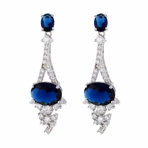 Blue and Silver colour formless shape Stone Studded Earring