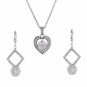 Silver colour Traditional design Pendant Set