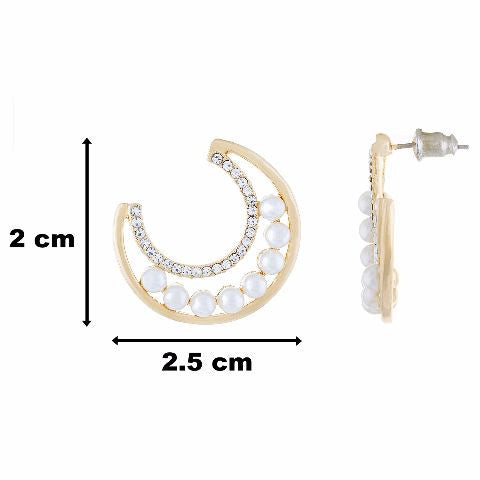 Gold colour Half moon shape Pearl Earring