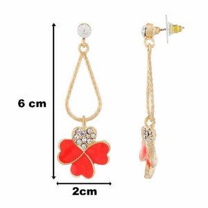 Orange colour Floral shape Enamel Earring