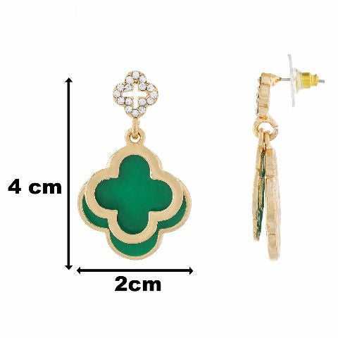 Green colour Floral shape Enamel Earring