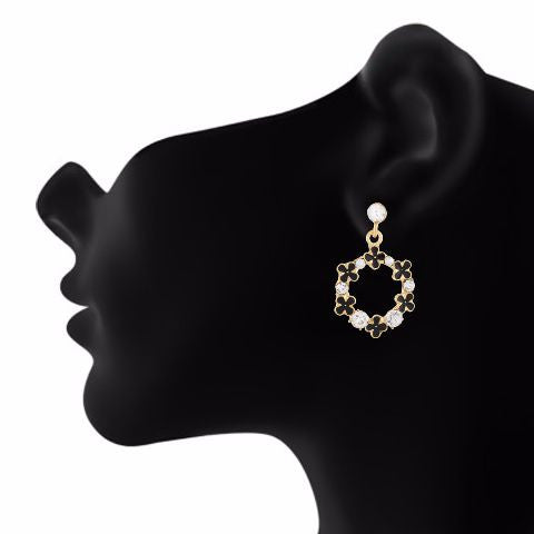 Black colour Round shape Stone Studded Earring