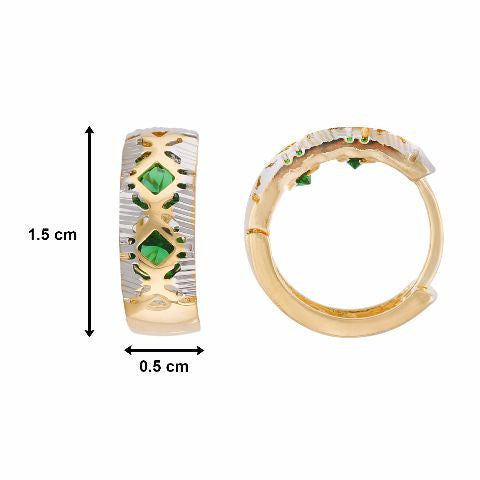 Green colour round shape Stone Studded Earring