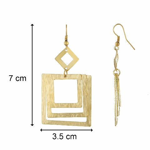 Gold colour square shape smart carving Earring