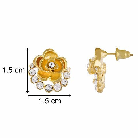 Gold colour Rose shape Stone Studded Earring