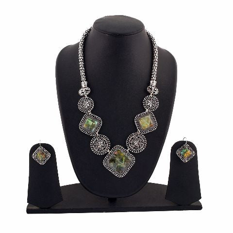 Silver colour Indo Western design Necklace Set