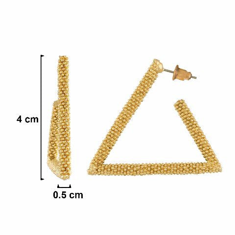 Gold colour Triangle shape smart carving Earring