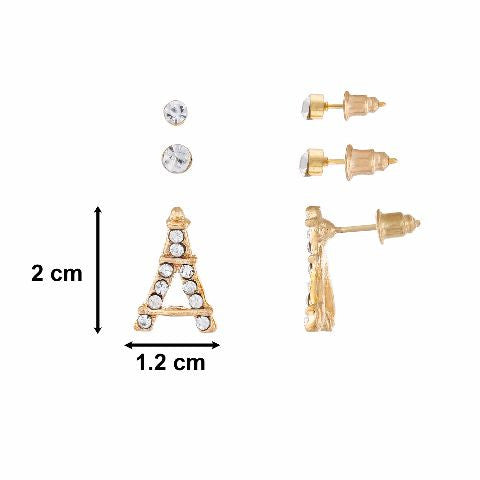 Gold colour Tower shape Stones Studded Earring