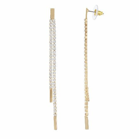 Gold colour 2 line shape Stone Studded Earring