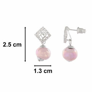 Silver colour Diamond with Drop shape Pearl Earring