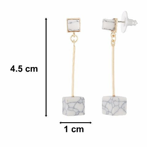 Gold colour Cube shape Stone Studded Earring