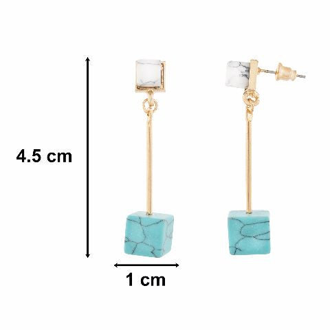 White colour Cube shape Stone Studded Earring