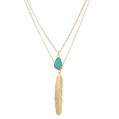 Gold and Turquoise Blue colour Western design Necklace