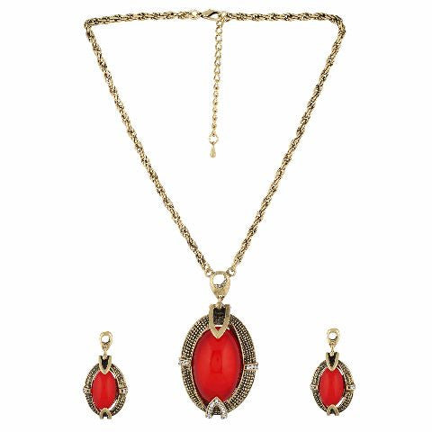 Gold and Red colour Indo Western design Necklace Set