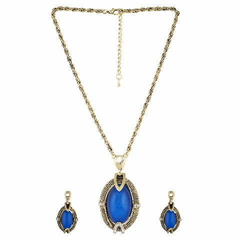 Gold and Blue colour Indo Western design Necklace Set