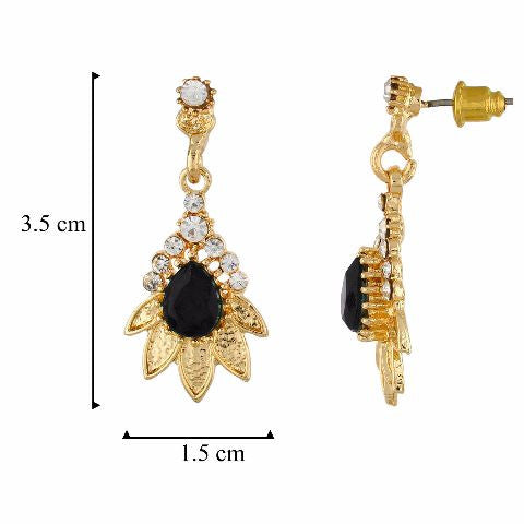Black and Gold colour Floral shape Stone Studded Earring