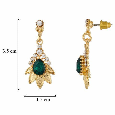 Green and Gold colour Floral shape Stone Studded Earring