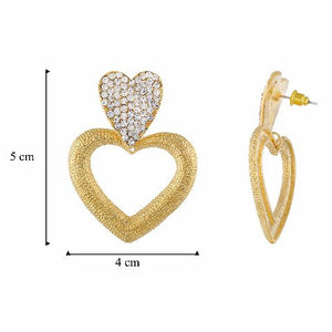 Gold colour Heart shape Stone Studded Earring