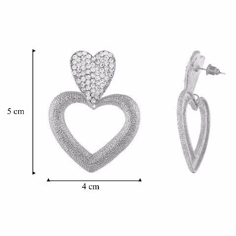 Silver colour Heart shape Stone Studded Earring