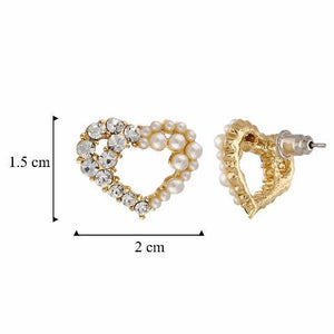 Gold colour Heart shape stone and pearl studded Earring