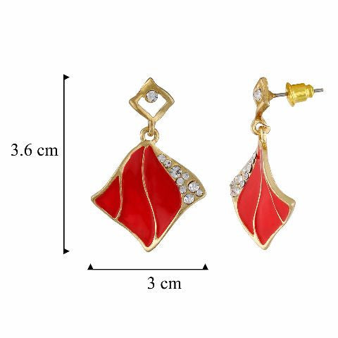 Red and Gold  colour Rhombus shape Enamel Earring
