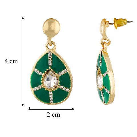 Green and Gold colour Drop shape Enamel Earring