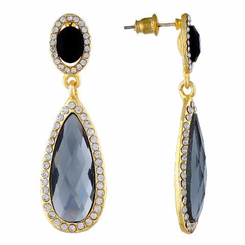 Grey and Gold colour Drop shaped shape Stone Studded Earring