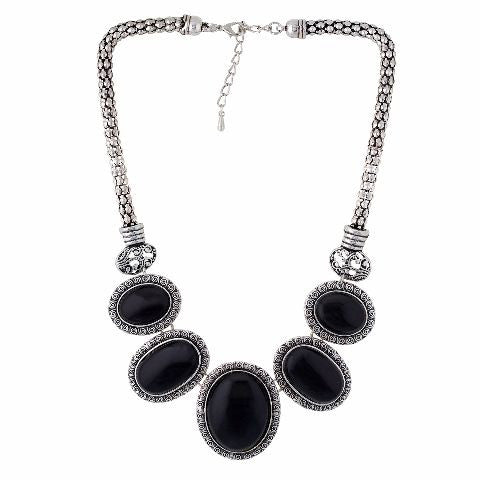 Silver and Black colour Tribal design Necklace Set