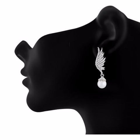 Silver colour Peacock feather shape Pearl Earring