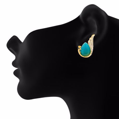 Gold colour Peacock  shape Stone Studded Earring
