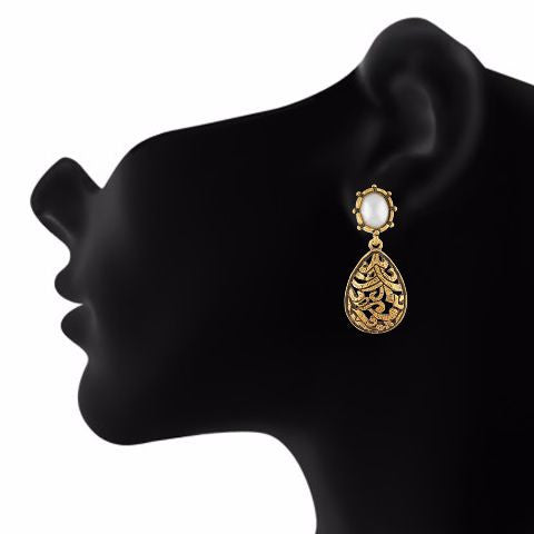 Gold colour Drop shape Pearl Earring