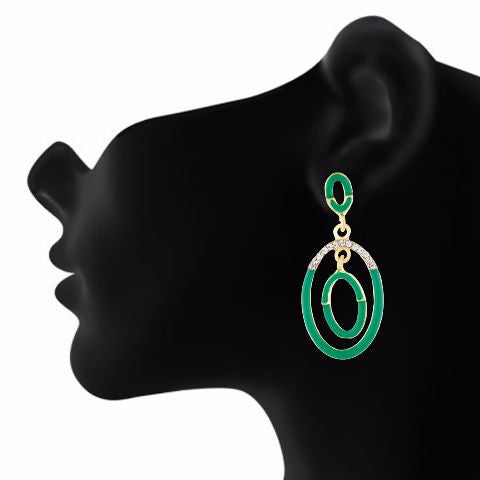 Green  colour oval shape Stone Studded Earring