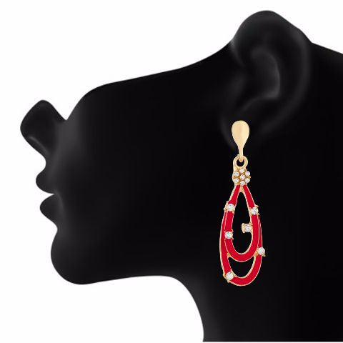 Red colour drop shape Stone Studded Earring
