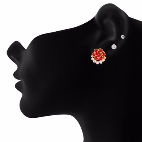 Red colour Rose shape Stone Studded Earring