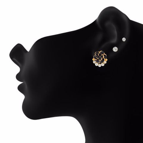 Black colour Rose shape Stone Studded Earring