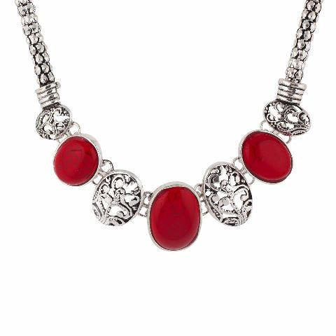 Sivler and Red colour Indo Western design Necklace Set