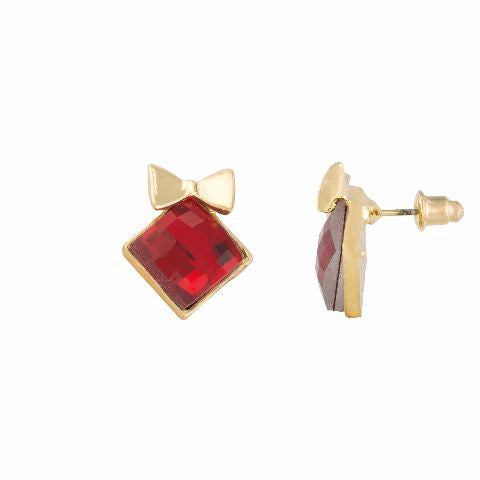 Red colour diamond shape Stone Studded Earring